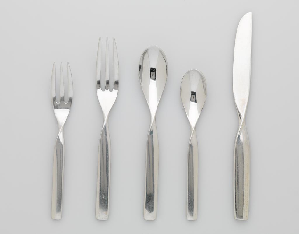 """Sasaki Korea Ward Bennett Stainless DOUBLE HELIX 7/"""" Salad Fork"""