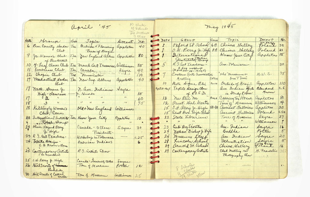 A 1945 register of tours, including school/organization names, tour topics, and assignments of education department staff and volunteer docents. Courtesy of the RISD Archives