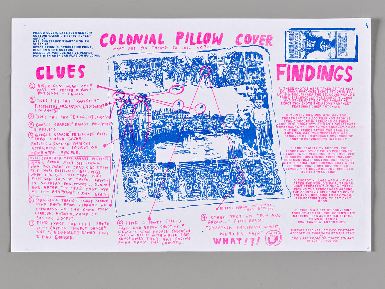Screenprinted graphic of Colonial pillow case created by Walker Mettling. Contains clues and findings for his research.