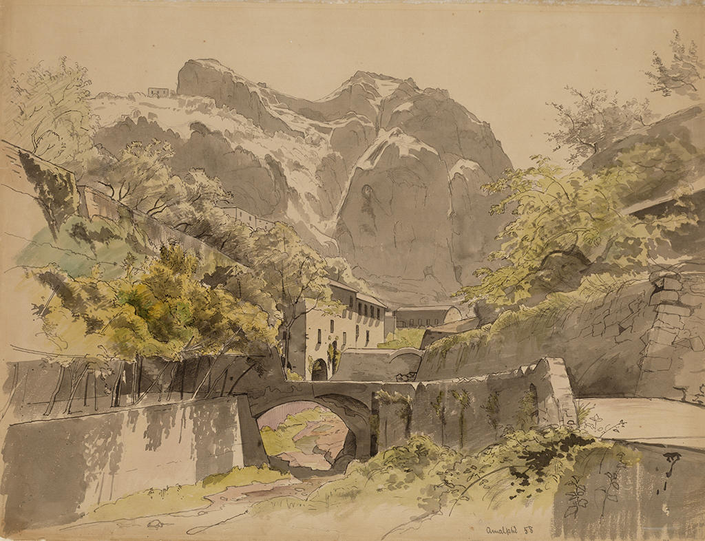 Pen and ink drawing depicting a great ravine in Amalfi, stone bridge and in the distance stucco buildings and roof of a barn.