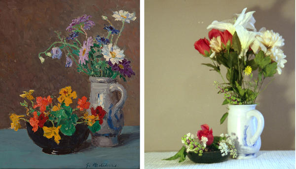 A painting at left depicts a vase and a bowl containing flowers. A photograph on the right shows a recreation of the same scene.