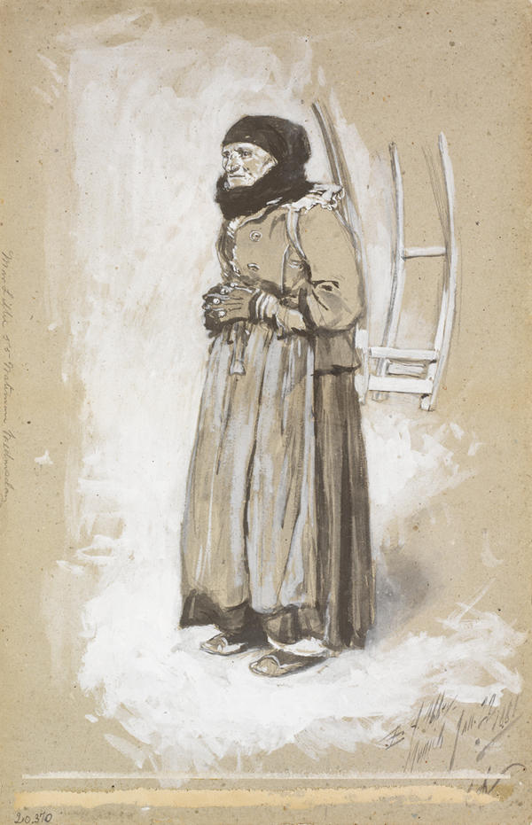 Old peasant woman standing, with gloved hands folded across her waist. She's wearing heavy clothing, scarf and hat.