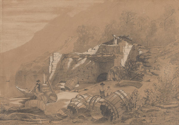 Drawing of a yard of a cooperage on the banks of the Rhine. a landscape depicted of tan tone of a smooth-surfaced paper.