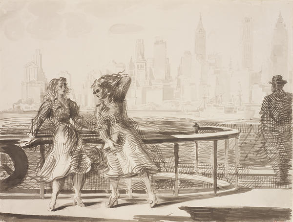 Two young women standing on deck the Staten Island ferry on its approach to Governors Island. A middle-aged gentleman in a fedora looks towards the downtown skyline in a panorama view across southern tip of Manhattan.