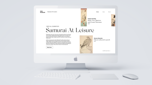 Home Page of the virtual exhibition Samurai At Leisure displayed on a model of a computer monitor.