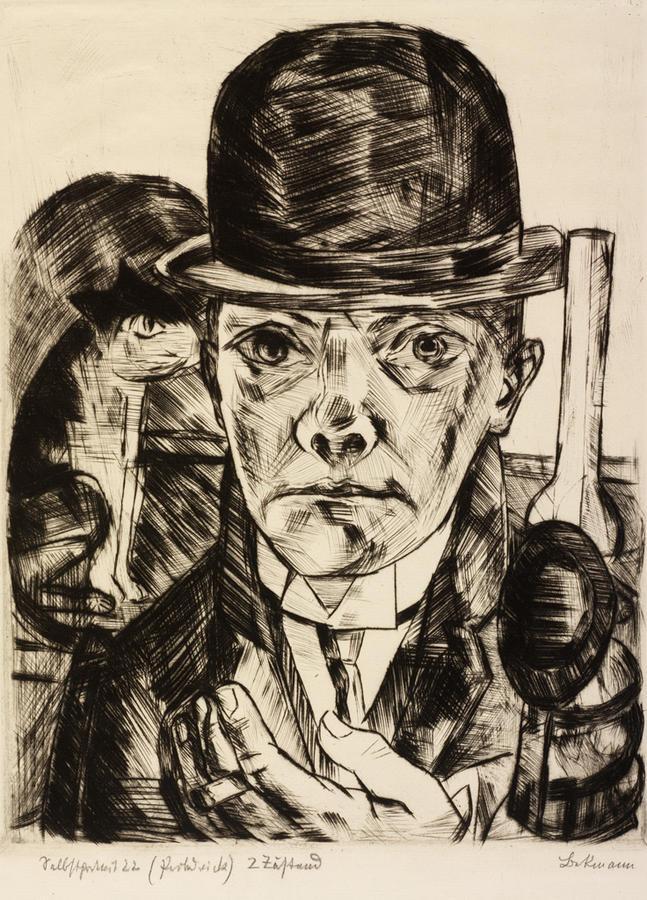 Image result for Max Beckmann (German, 1884–1950). Self-Portrait in Bowler Hat, 1921.